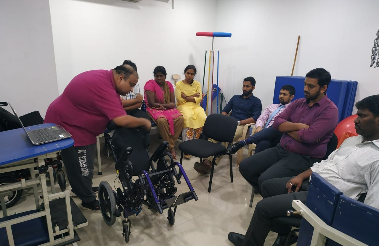 Demonstration of wheel chair